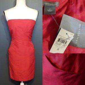 ANN TAYLOR Red Strapless Dress NWT
